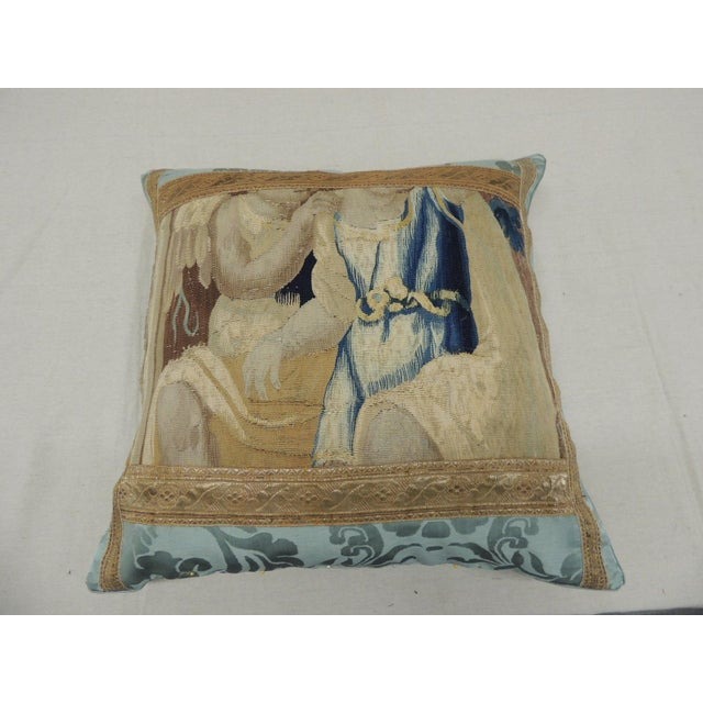 Late 19th Century Antique Aubusson Tapestry Square Decorative Pillow For Sale - Image 5 of 9