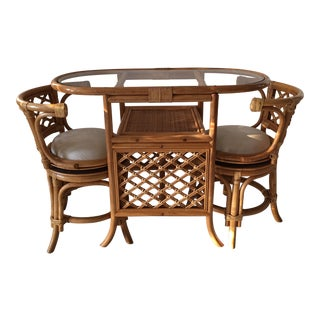 1960s Boho Chic Rattan Dining Set - 3 Pieces For Sale
