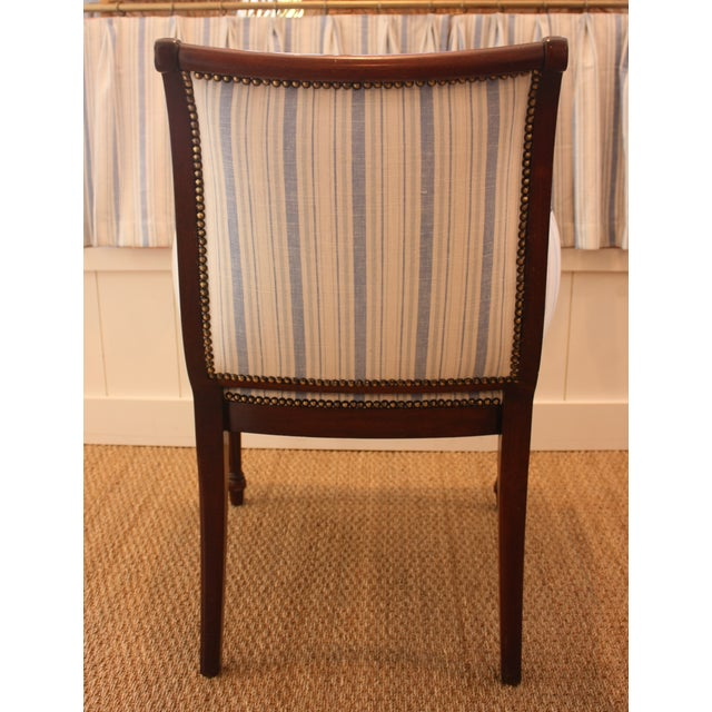 Blue Vintage Blue & White Striped Nailhead Chair For Sale - Image 8 of 9