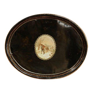 19th Century French Napoleon III Black and Gilt Oval Tole Tray With Winter Scene