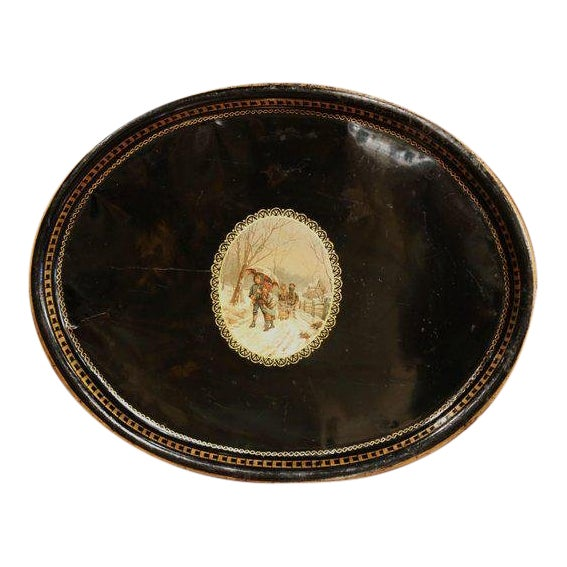 19th Century French Napoleon III Black and Gilt Oval Tole Tray With Winter Scene For Sale