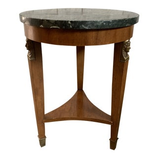 Edwardian Style Round Side Table With Marble Top For Sale