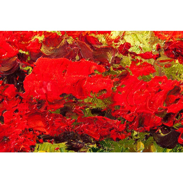 Oil Paint Mid-20th Century Floral Field Wood Framed Oil Painting For Sale - Image 7 of 13