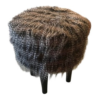 Long Haired Fury Stool on Wood Legs For Sale