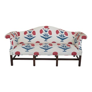 Kittinger Chippendale Mahogany Floral Sofa For Sale