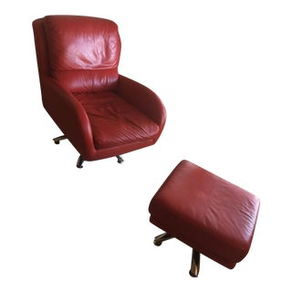 Swiveling Siren Red Leather Club Chair & Ottoman