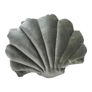 Small Shell Pillow - Sage Green Velvet