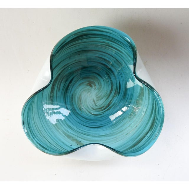 Blue & White Swirl Murano Glass Bowl For Sale - Image 4 of 9