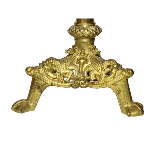 Add a romantic touch to your decor with this vintage medieval-style gilt brass candlestick. This beautiful French altar...