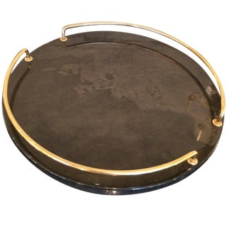 Italian Goatskin Tray With Brass Handles For Sale