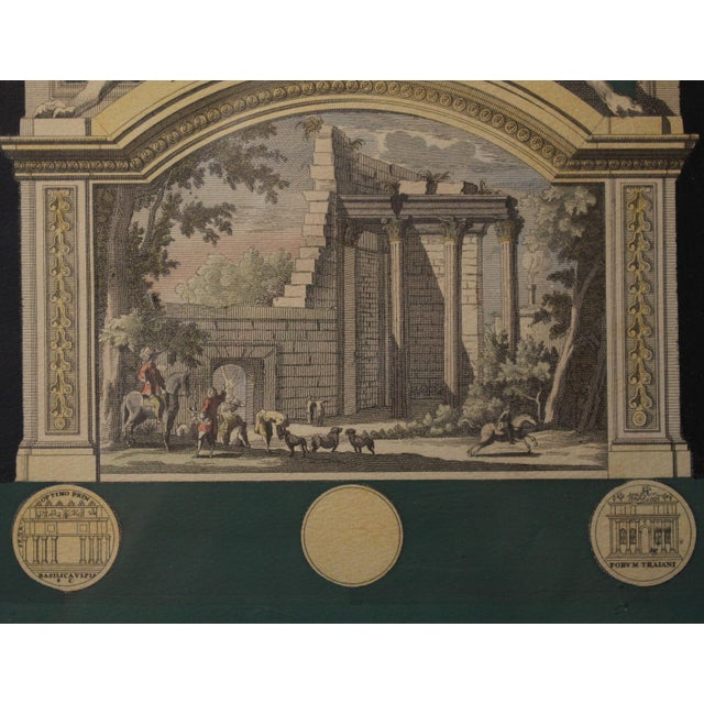 Early 1800s Antique Italian Neoclassical Hand Colored Roman Temple & Ruins Engravings in Gilt Wood Frames - a Pair For Sale - Image 4 of 8