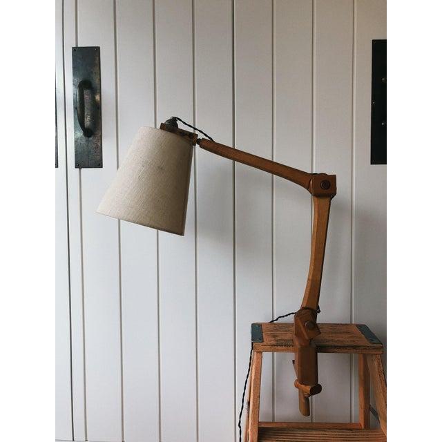 1920s Vintage Wooden Desk Lamp For Sale - Image 5 of 5