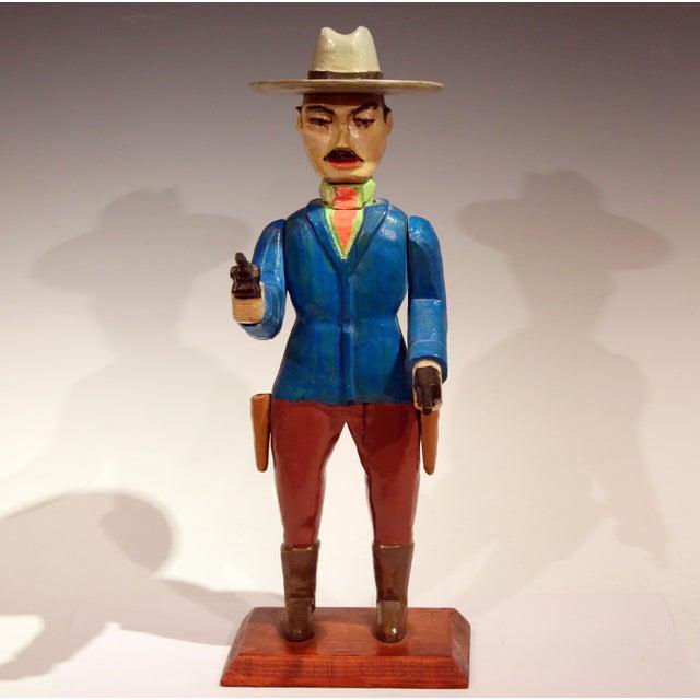 Old Folk Art Figurine of Gunslinger Western Cowboy Gambler For Sale - Image 4 of 11