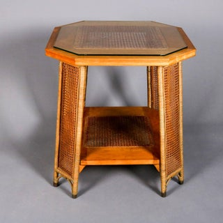 Heywood Wakefield Yewwood, Cane and Wicker Glass Top Lamp Stand, 20th Century Preview