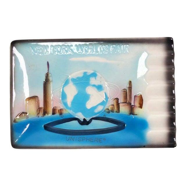 1960s New York World's Fair Unisphere Blue Ashtray For Sale