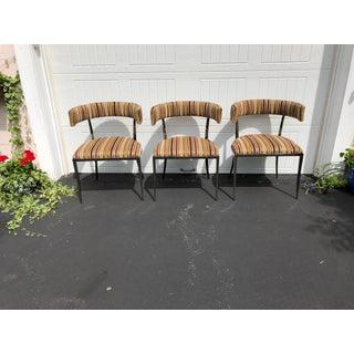 Vintage Vanguard Furniture Black Nickle & Velvet Accent Chairs - Set of 3 Preview