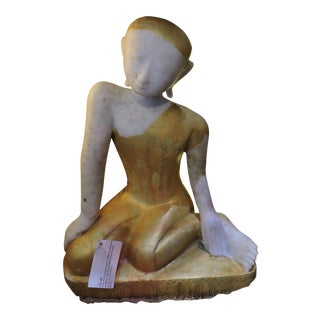 Sweet Alabaster Monk Devotee For Sale