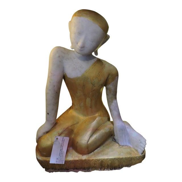 Sweet Alabaster Monk Devotee For Sale