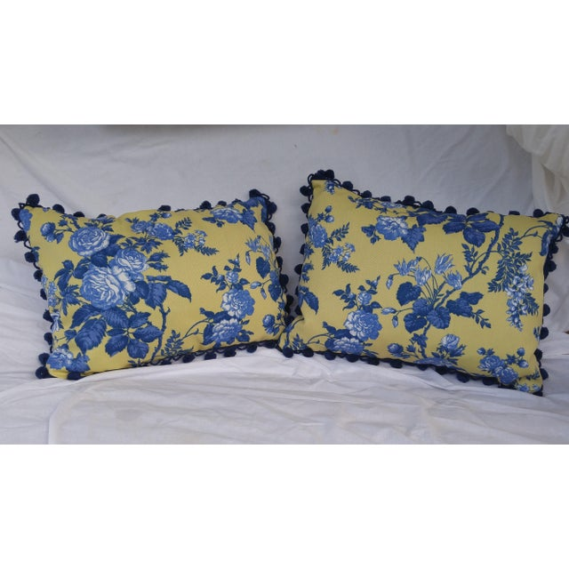 French Country Yellow Blue White Pillows A Pair Chairish