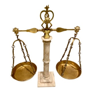 19th Century Italian Alabaster and Brass Lady Justice Balancing Scale For Sale