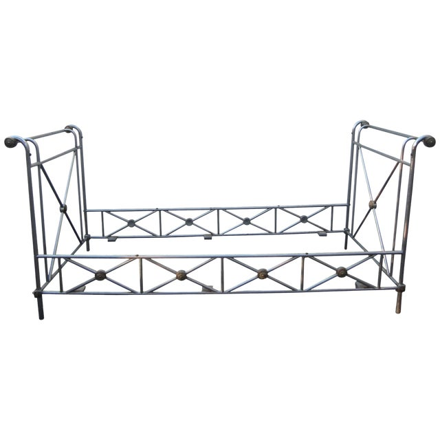 Maison Jansen Steel and Brass Campaign Style Day Bed For Sale