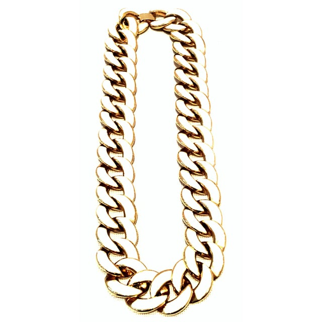 20th Century Les Bernard Gold & Enamel Chain Link Choker Necklace For Sale - Image 9 of 9