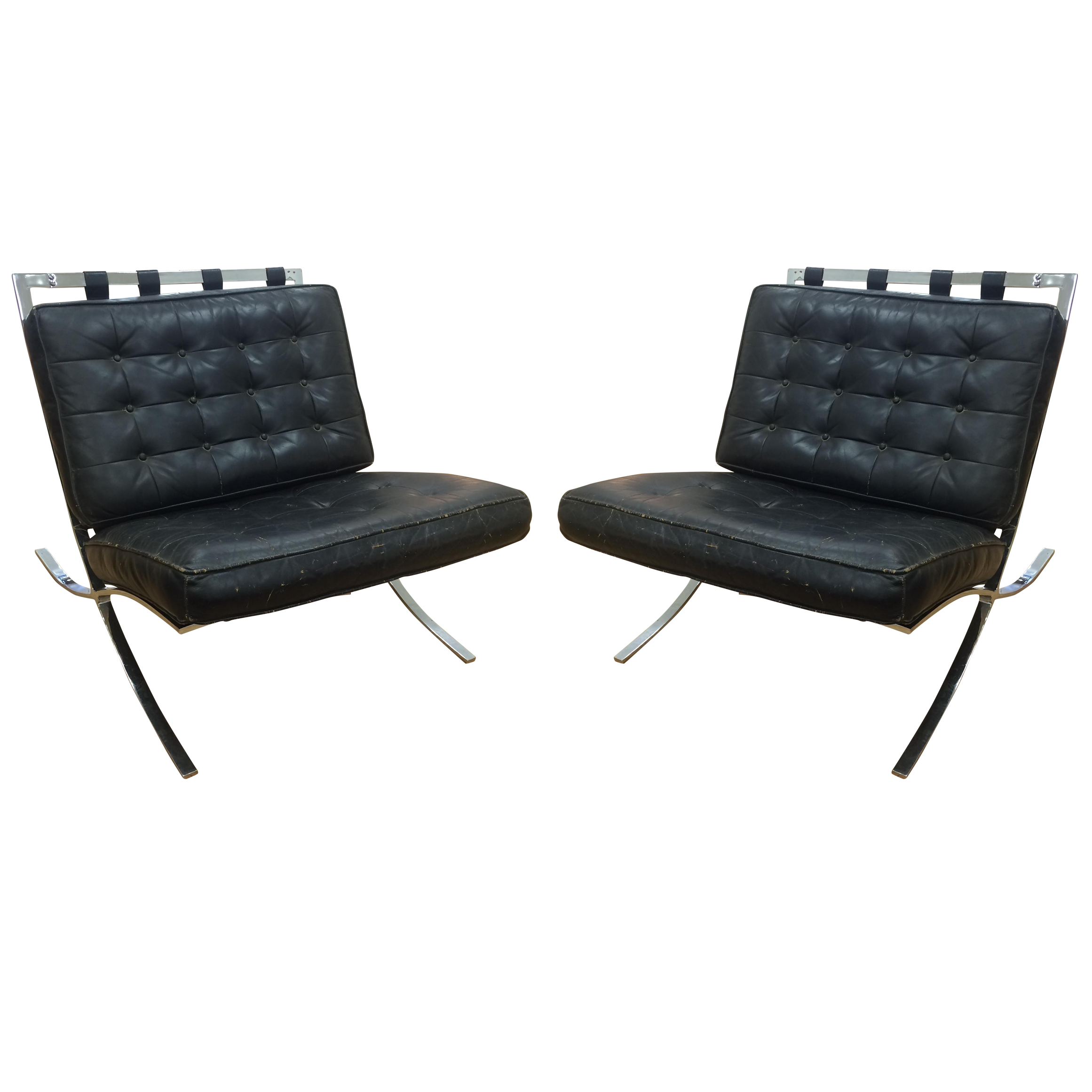 C. 1960 Screw Frame Barcelona Chairs   A Pair   Image 1 Of 11