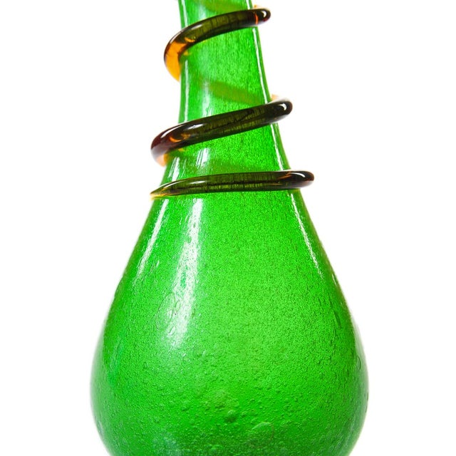 Incredible Murano Handblown Green Twisted Glass Vase A Pair Decaso
