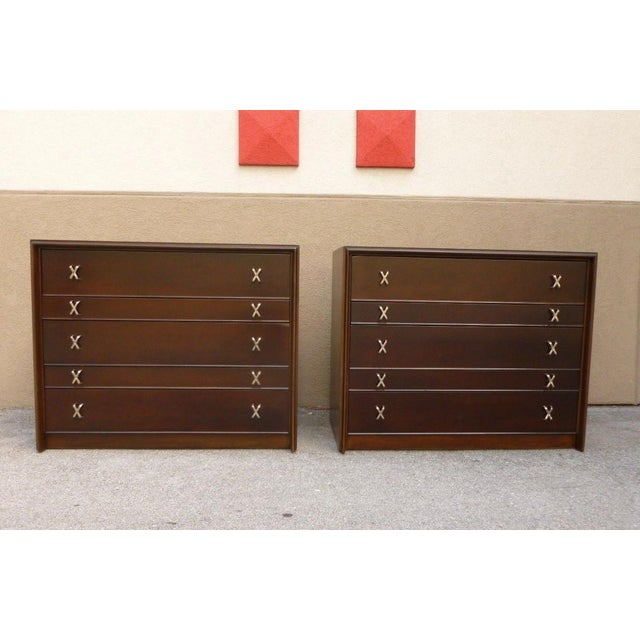 Match pair Paul Frankl X drawer pull bachelor chests from Johnson Furniture. Sold as found restored and ready to go