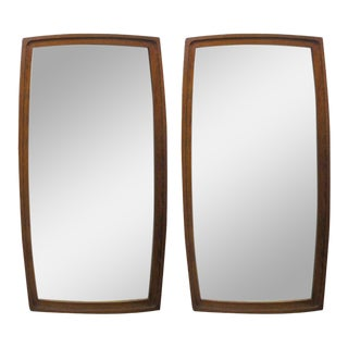 Pair Mid Century Modern Walnut Mirrors For Sale