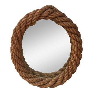 1960s Audoux Minet Oval Rope Mirror