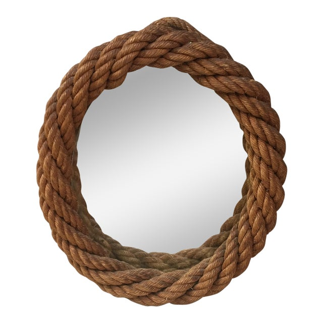 1960s Audoux Minet Oval Rope Mirror For Sale