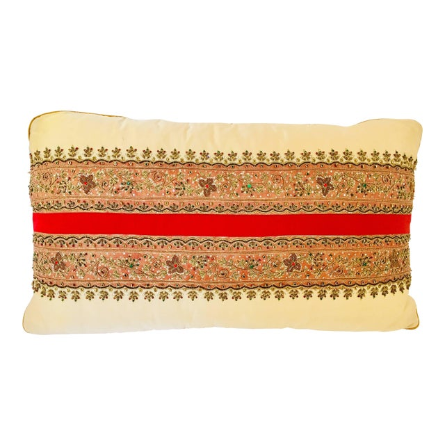Decorative Ivory Color Silk Throw Pillow Embellished With Beads For Sale