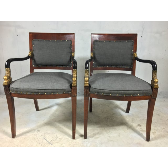 Neoclassical Style Arm Chairs - A Pair - Image 4 of 4