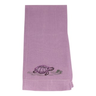 Purple Tea Towel With Embroidered Turtle For Sale