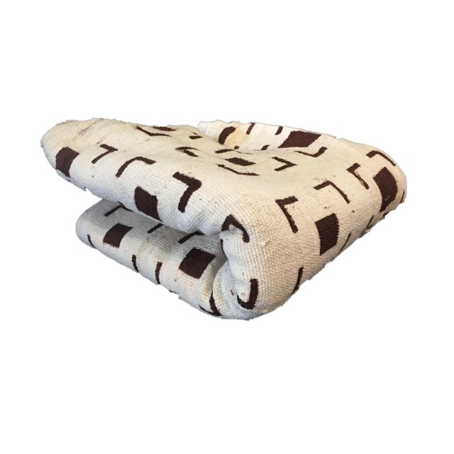 Superb brown and white mud-cloth cotton fabric, handwoven, hand-sewn, and hand-dyed by the men and women of the Bamana...