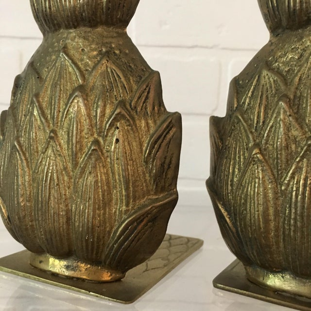 Boho Chic Pair of Mid-Century Brass Pineapple Bookends For Sale - Image 3 of 6