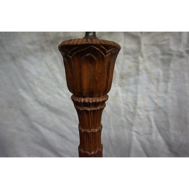 Hand Carved Southeast Asian Teak Lamps - Pair - Image 4 of 4