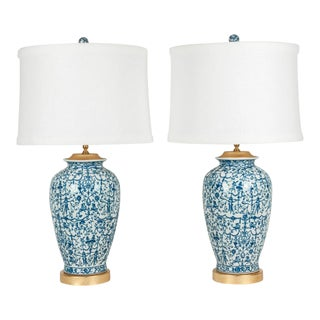 Porcelain With Wooden Base Gold-Plated Task Table Lamps - a Pair For Sale