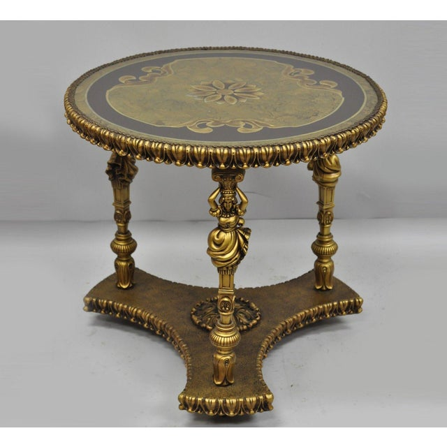 1960s Vintage French Inspired Figural Gold Side Table For Sale - Image 11 of 11