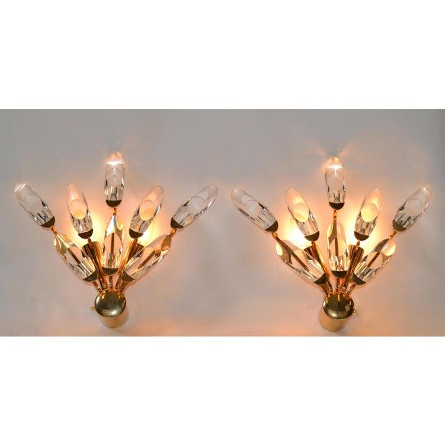 Metal Stilkronen Italy Brass & Crystal Sconces Mid-Century Modern, For Sale - Image 7 of 9