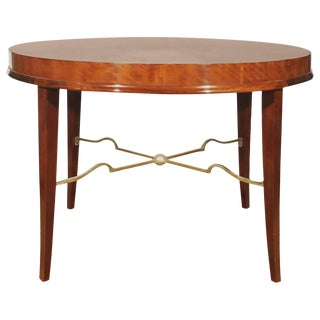 1940s Round sidetable by De Coene, mahogany, gilded spacer - Belgium For Sale