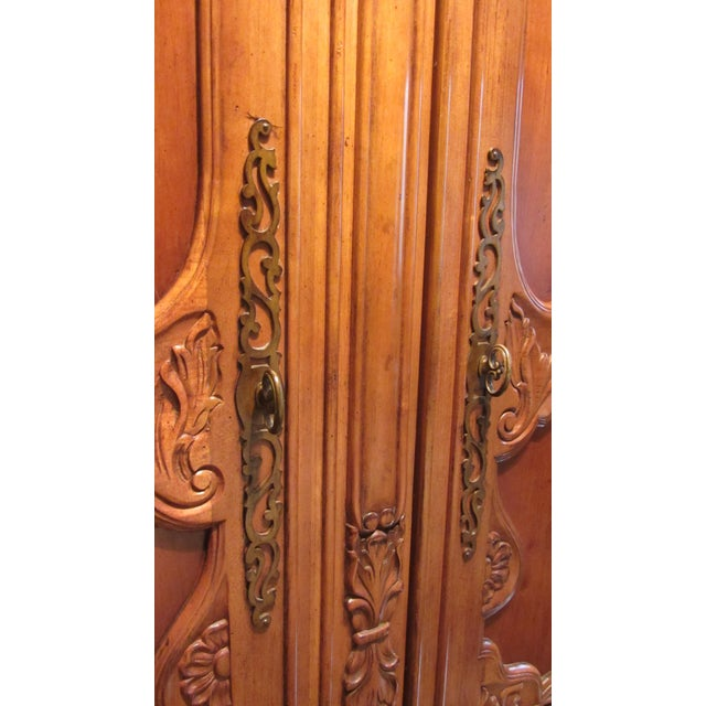 Traditional Carved Cherry Armoire - Image 4 of 9