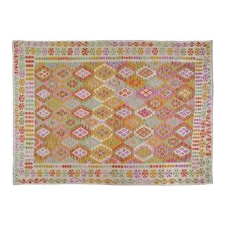 "Afghan Tribal Natural Color Hand Made Organic Wool Maimana Kilim,6'4""x9'5"" For Sale"