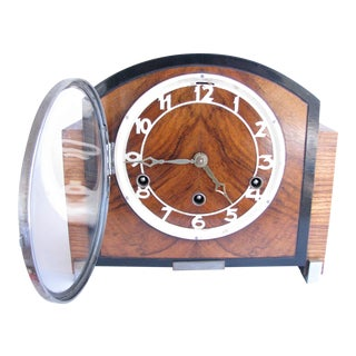 Antique German Art Deco Haller Foreign Chiming Mantel Clock For Sale
