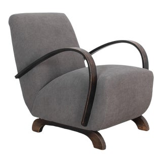 Modernist Czech Upholstered Armchair For Sale