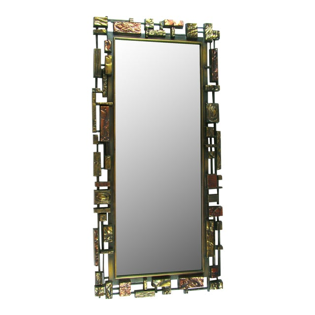 Syroco Paul Evans Style Brutalist Mid-Century Modern Wall Mirror - Image 1 of 9