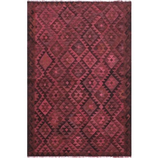 Boho Chic Kilim Schaffer Red/Brown Hand-Woven Wool Rug - 5'4 X 7'7 For Sale