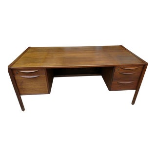 Vintage Mid Century Jens Risom Walnut Executive Desk For Sale