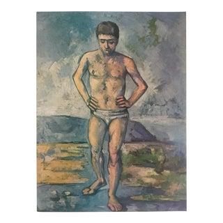 "Paul Cezanne Rare Vintage 1952 Authentic Lithograph Print "" the Bather "" 1885 For Sale"